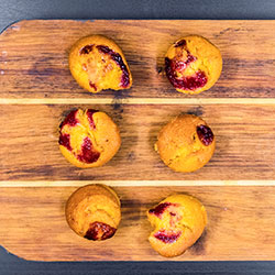 Salted caramel and raspberry almond cakes thumbnail
