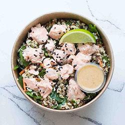 Seared salmon and miso tahini wild rice salad thumbnail