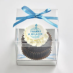 Classic cupcake with logo in clear cube box with ribbon thumbnail