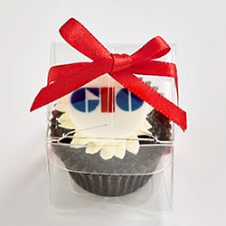 Petite cupcake with logo in clear cube box with ribbon thumbnail