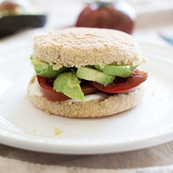 Avocado and grilled tomato English muffin thumbnail