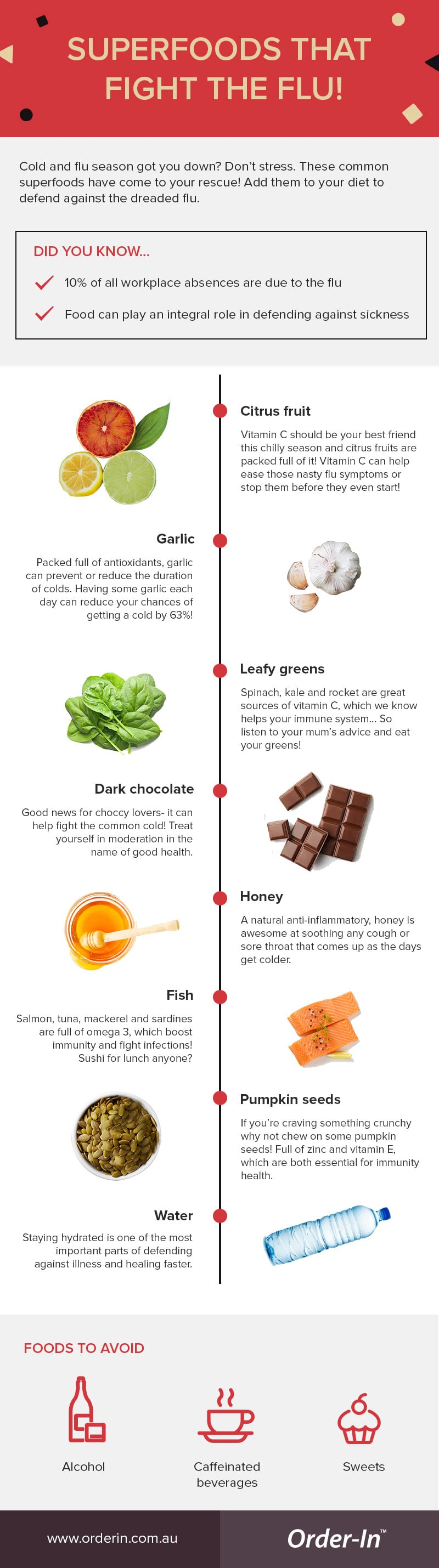 superfoods to eat that fight the winter cold and flu infographic