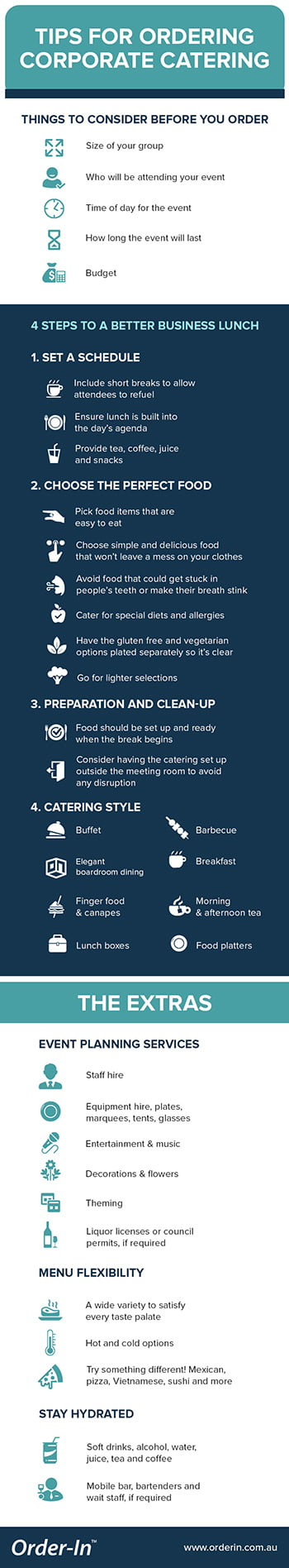 tips for ordering corporate catering infographic