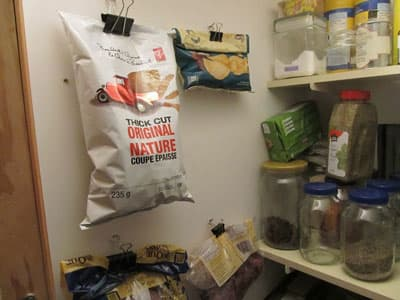 keep opened bags of chips fresh with binder clips