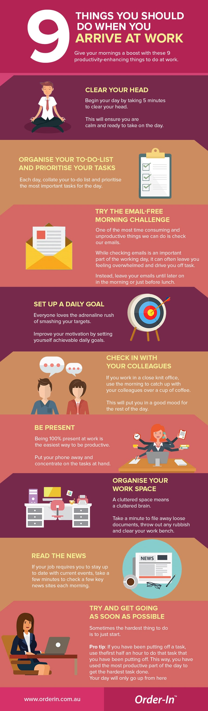 9 things you should do when you arrive at work infographic