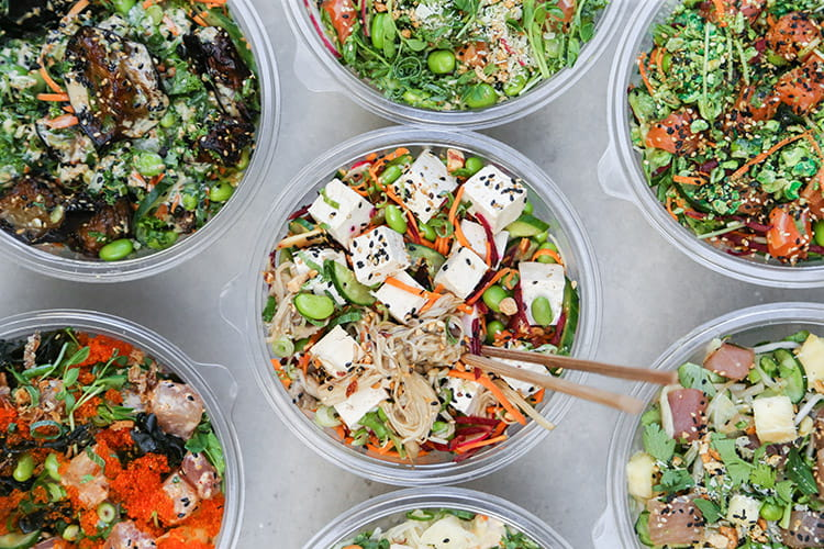 healthy catering from Nudefish - poke bowls perfect for special diet catering