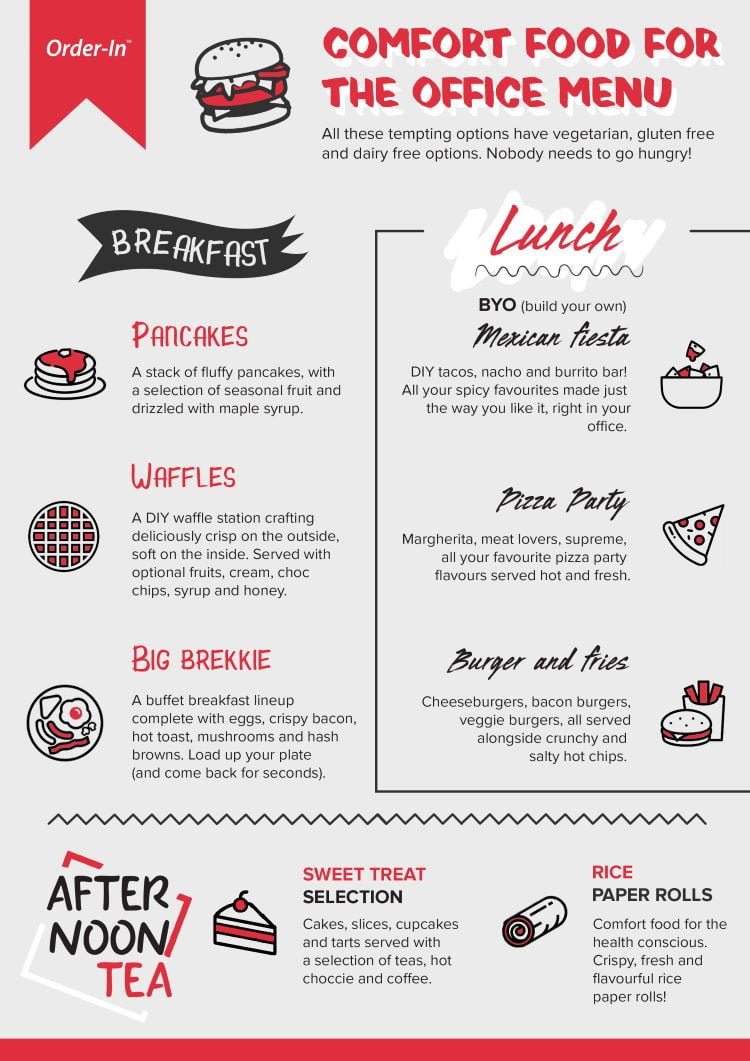 Comfort food catering menu for the office