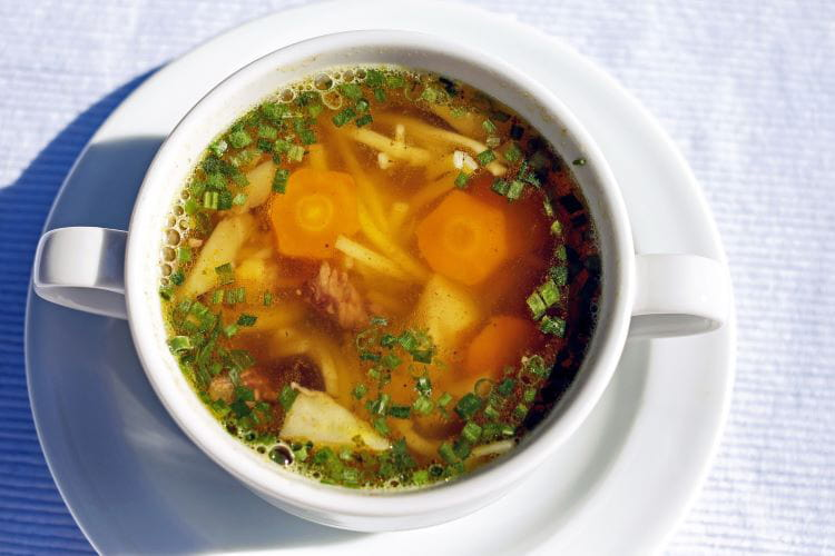 winter comfort food catering ideas - bowl of chicken noodle soup