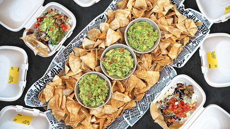 mexican catering - corn chips with guac from Guzman y Gomez